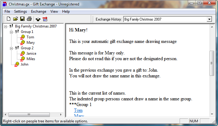 Gift Exchange Name Drawing Program